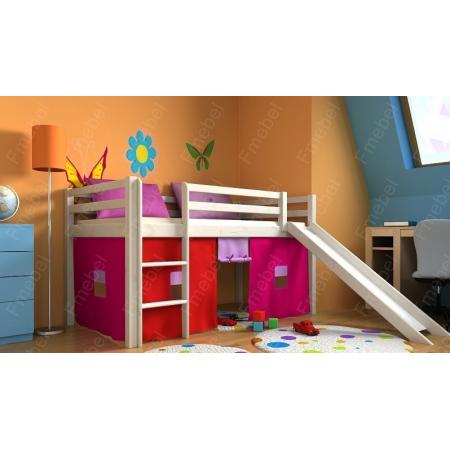 Кровать-чердак с горкой и матрасом GABI Z Fmebel EB 80x180