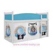 Кровать-чердак низкая ТВИСТ АНТРЕСОЛЬ для мальчика Fmebel KA 80x184 Белый