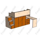 Кровать-чердак со столом Висбаден Fmebel